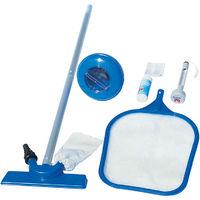 Bestway Kit pulizia piscina completa accessori asta retino termometro test toppa 58195