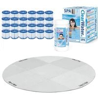 Bestway Lay-Z-Spa Platinum Set - 12 x Filter Packs, Chemicals, Floor Protector, Test strips