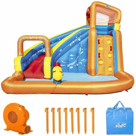 Bestway Piscina H2OGO Hurricane XL parque acuático hinchable tobogán muro de escalada para niños 420x320x260cm 6 personas