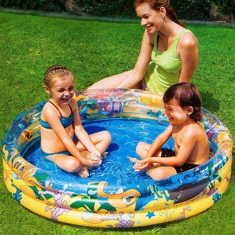 Bestway piscina hinchable infantil 3 anillos 122x25cm acuario circular verano para niños