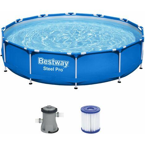Bestway Piscina Steel Pro Frame redonda con estructura de acero 366x76cm desmontable Pool con bomba de filtro