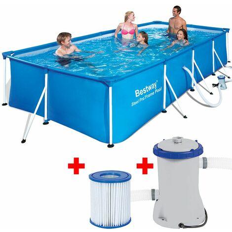Bestway Piscina Steel Pro™ hinchable rectangular 400 x 211 x 81cm marco de acero con filtro de bomba Set piscina para jardín