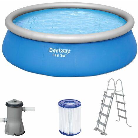 Bestway Piscine Fast Set Ø457 cm hauteur 122 cm piscine gonflable enfants échelle