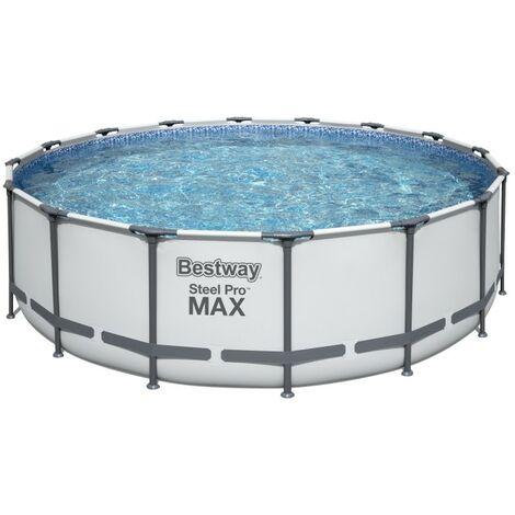 BESTWAY Piscine hors sol SteelPro Max diametre 488 x 122 cm, filtre a cartouche, bâche, échelle