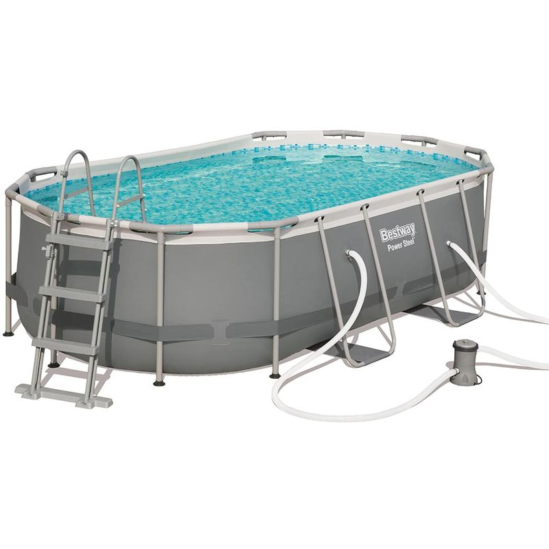 Kit piscine tubulaire POWER STEEL FRAME POOL ovale 427 x 250 x 100cm - Bestway