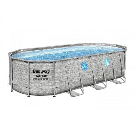BESTWAY Piscine ovale Frame Pool Swim Vista - 549 x 274 x 122 cm - Tressé