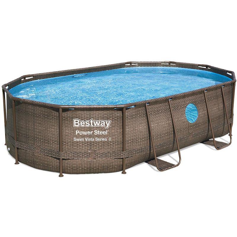 Kit piscine POWER STEEL SWIM VISTA ovale 488x305x107cm avec hublots filtration sable - Bestway