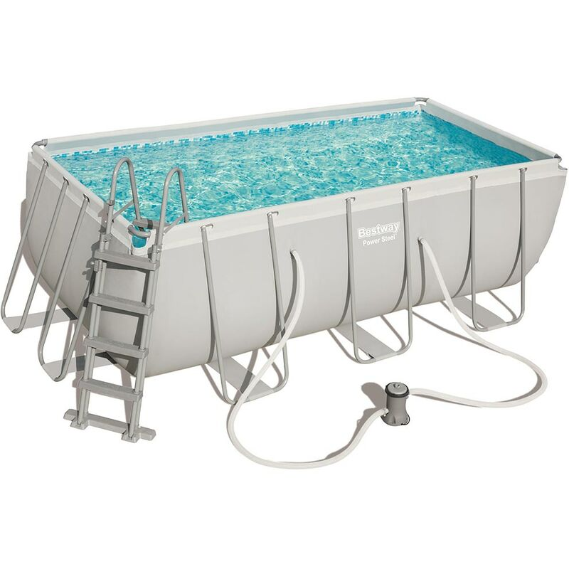 Kit piscine tubulaire POWER STEEL FRAME POOL rectangulaire 412x201x122cm cartouche - Bestway