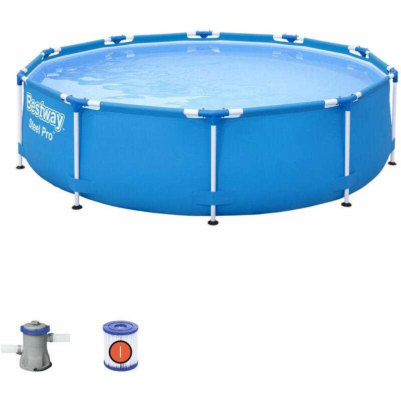 Piscine Tubulaire Hors-sol Steel Pro 305x76 cm Épurateur à Cartouche de 1.249 litres/heure - Bestway