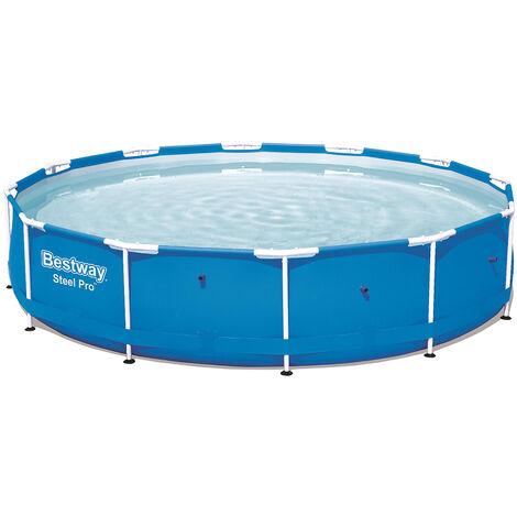 Bestway Piscine tubulaire ronde Steel Pro™ bleu 366 x 76 cm inoxydable jardin enfant été