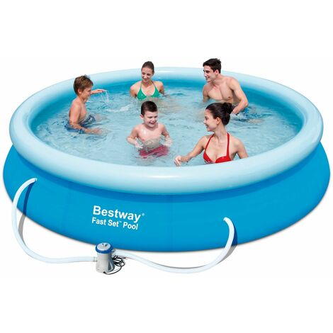Bestway Pool Set 366x76cm rund Swimmingpool Garten Baden Planschbecken