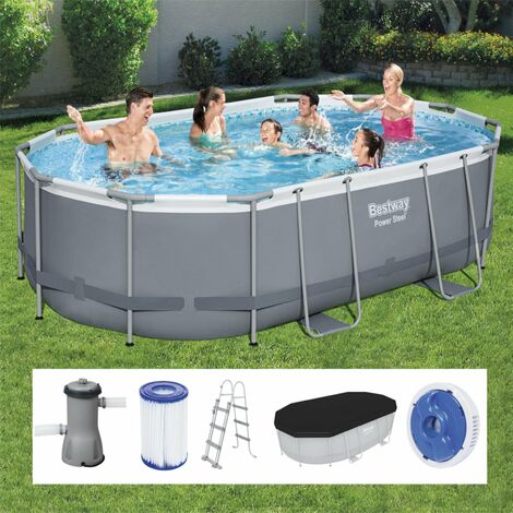 Bestway Power Steel Frame Pool 488x305x107 cm oval grau 56448