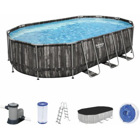 Bestway Power Steel Frame Pool 610x366x122 cm Oval Pool Set 5611R