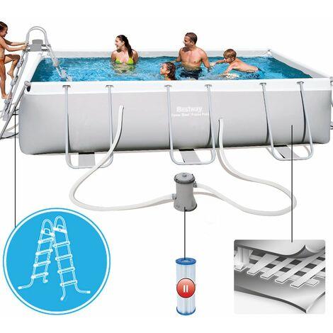 Bestway Power Steel Frame Pool Set, mit Kartuschenfilterpumpe, viereckig, grau, 404 x 201 x 100 cm