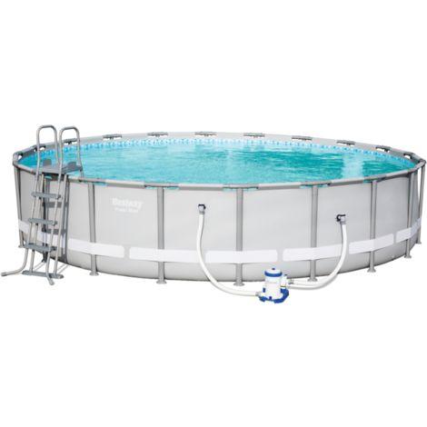 Bestway Power Steel Pool Set, Ø 610cm x 122cm, Schwimmbad, hellgrau, mit Filterpumpe