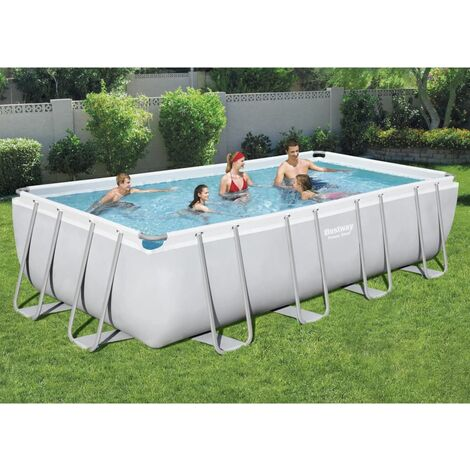 "main image of ""Bestway Power Steel Swimming Pool Set Rectangular 549x274x122 cm - Grey"""