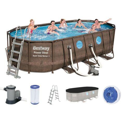 Bestway Power Steel Vista Oval Pool Set 549x274x122 Rattan 56716