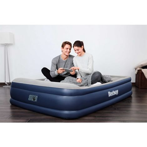 Bestway Queen Size Premium Inflatable Air Bed With Built-in Pillow Pump 67630