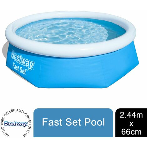 Bestway Round Kids Inflatable Paddling Pool, Fast Set, 8 ft