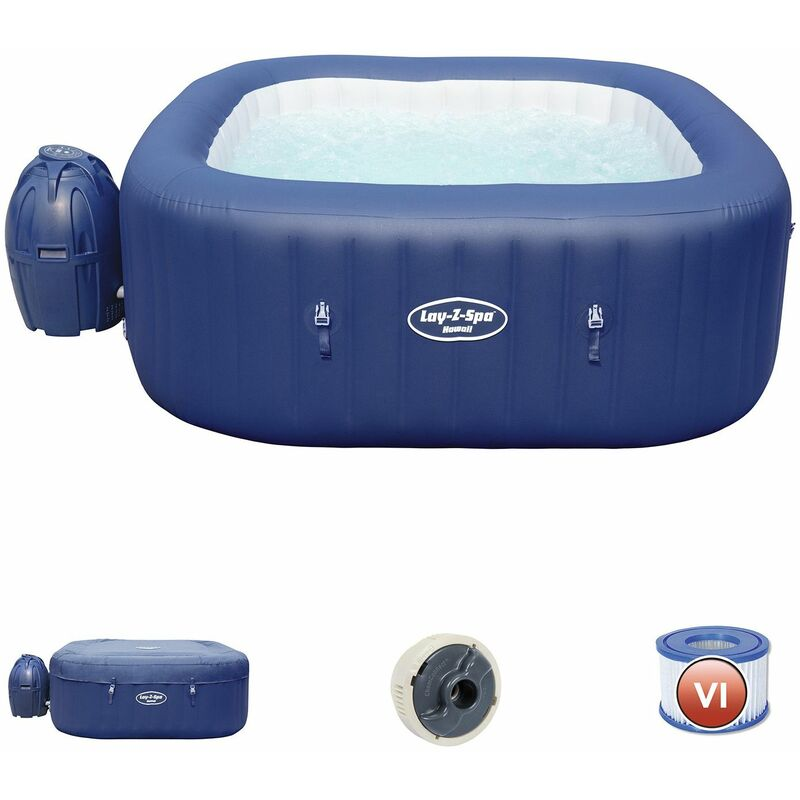 Bestway Spa Gonflable Lay- Z-Spa Hawaii Pour 4-6 Personnes Carré