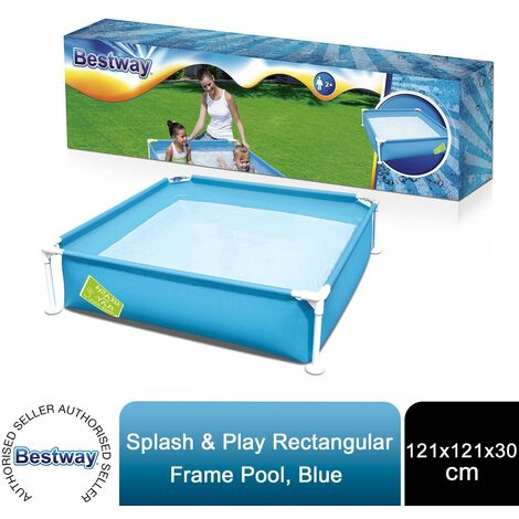Bestway Splash and Play Rectangular Blue Frame Pool 48'' x 48'' x 12'', 365L