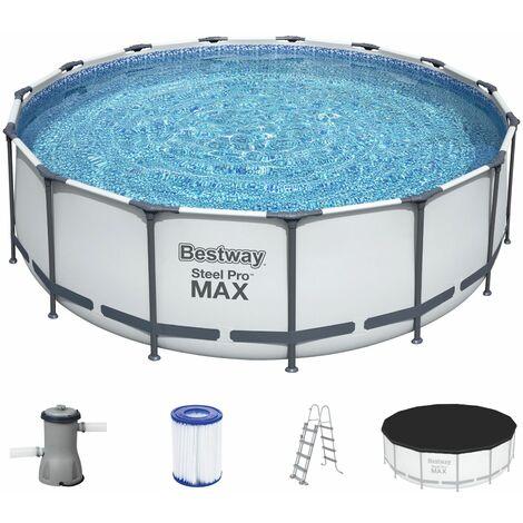 BESTWAY Steel Pro Frame Pool Rund Swimmingpool mit Pumpe Leiter Cover 457x122cm