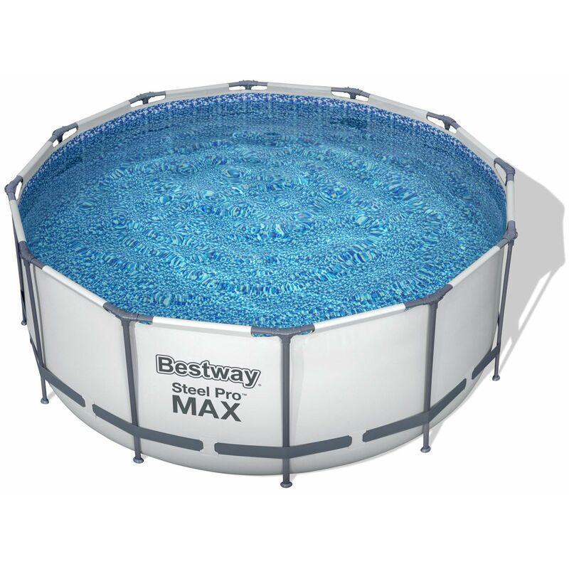 Piscina Redonda con Marco de Acero y Bomba de Filtro Color Azul Bestway Steel Pro MAX 366 x 366 x 76 cm