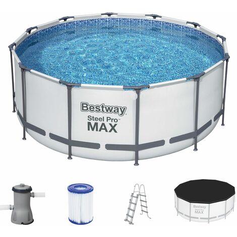 Bestway Steel Pro MAX Frame Piscina Redonda con marco de Acero y bomba de Filtro y accesorios 366 x 122 cm color Azul