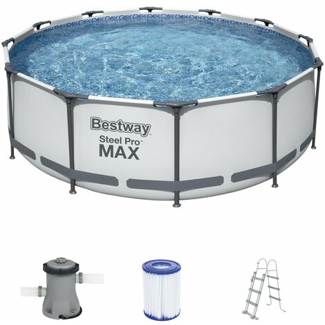 Bestway Steel Pro Max Frame Pool Set 366x100cm rund 56418 mit Leiter, Filterpumpe und Filter