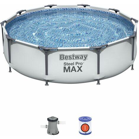 Bestway Steel Pro Max Piscina elevada para jardín con marco de acero redonda 305 x 76cm con bomba de filtro color Azul
