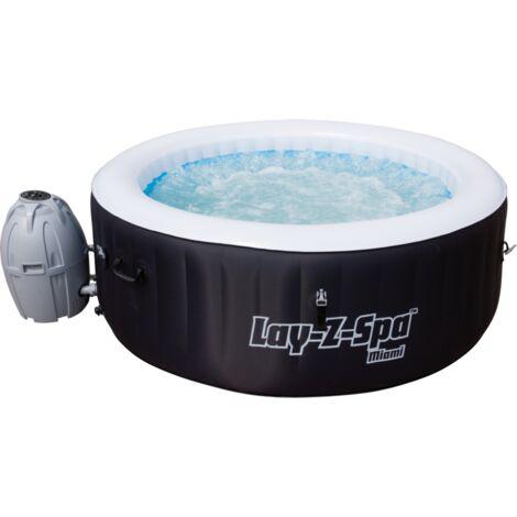 Bestway Whirlpool LAY-Z-SPA Miami, Schwimmbad, schwarz/weiß, Ø 180cm x 66cm
