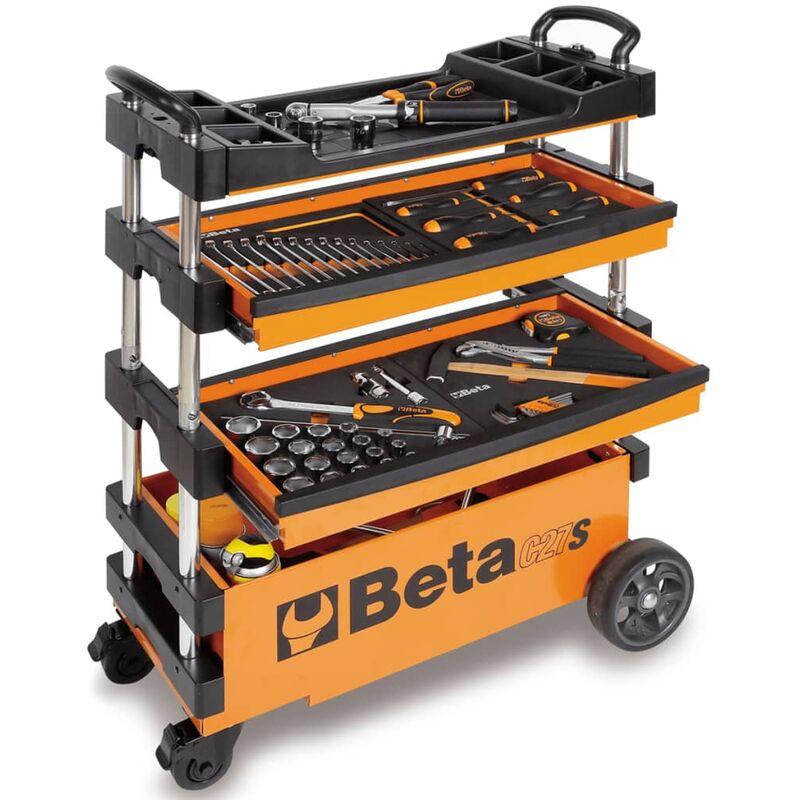 Image of Collapsible Tool Trolley C27S-O Orange Steel 027000201 - Orange - Beta Tools