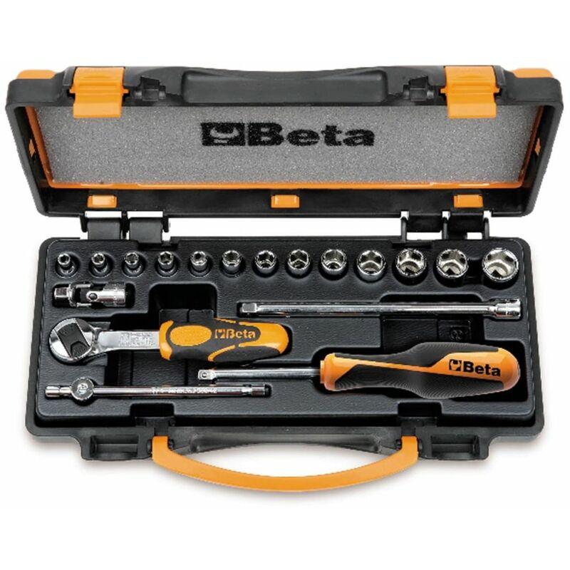 Image of Tools 18 Piece Ratchet and Socket Set 900/C13-5 009000953 - Beta