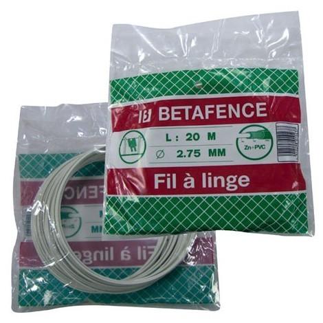 BETAFENCE - Fil à linge plastifié - 20 m - blanc