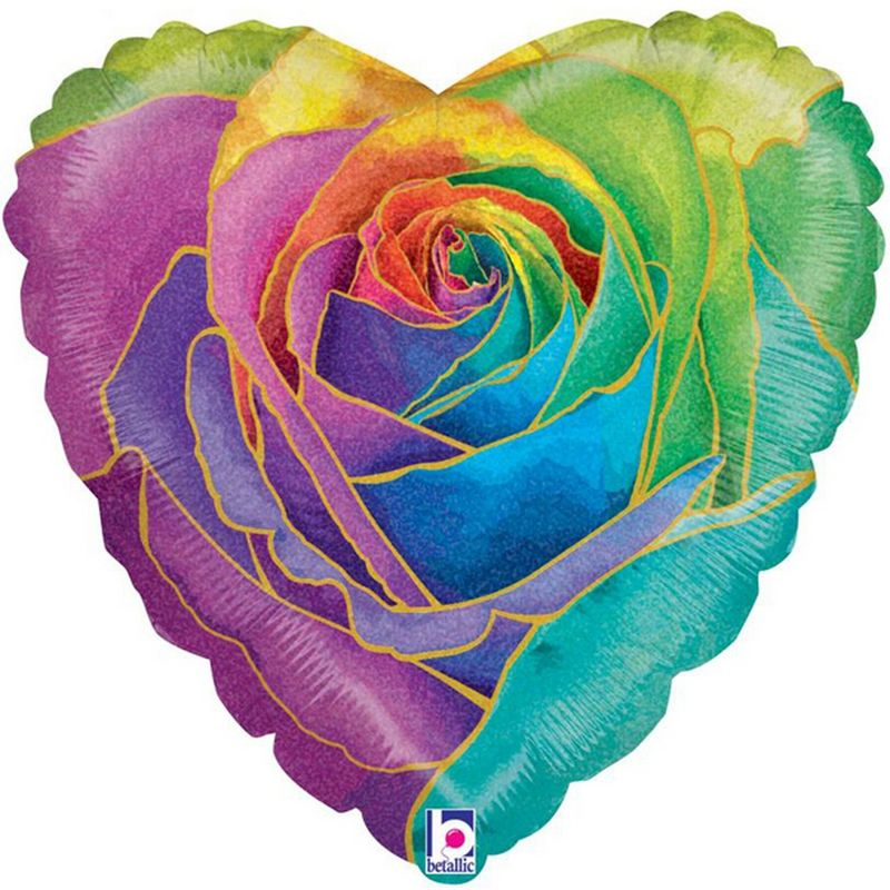 Image of Holographic Rose Heart Foil Balloon (One Size) (Rainbow) - Betallic