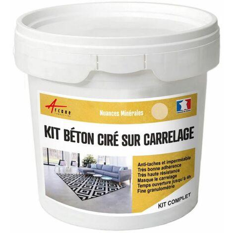 BETON CIRE CARRELAGE POUR SOLS ET MURS - KIT BETON CIRE SUR CARRELAGE