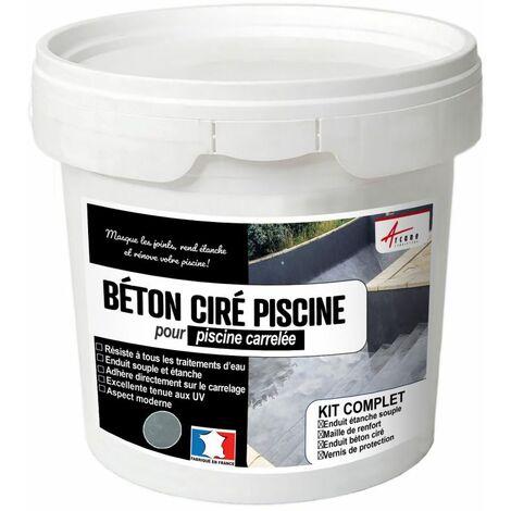 BETON CIRE PISCINE CARRELEE - Kit complet enduits HAUTE RESISTANCE
