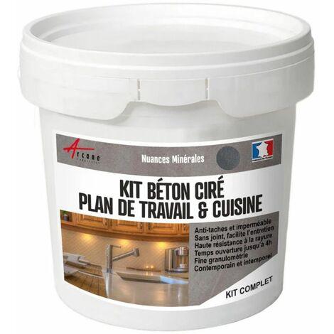 Beton cire pour cuisine plan de travail anti taches credence sol et mur kit beton cire cuisine - Credence beton cire cuisine ...