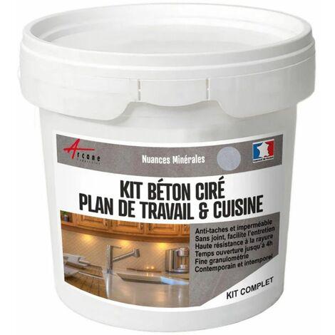 BETON CIRE POUR CUISINE PLAN DE TRAVAIL ANTI-TACHES CREDENCE SOL ET MUR - KIT BETON CIRE CUISINE PLAN DE TRAVAIL