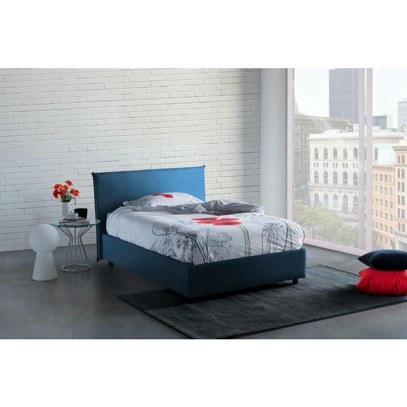 Bett Anna, cm 120 x 190, mit herausnehmbarem Bettkasten, hergestellt in Italien, Blau, mit Matratze - TALAMO ITALIA