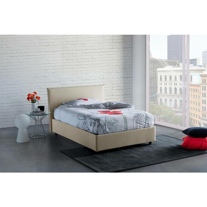 Anna Bett, cm 120 x 190, mit herausnehmbarem Bettkasten, hergestellt in Italien, Creme, mit Matratze - TALAMO ITALIA