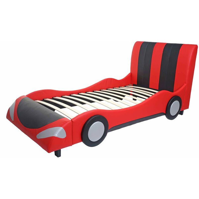 Bett 054, Auto Junge Kinderbett Jugendbett, Lattenrost Kunstleder Holz 190x100cm ~ schwarz-rot - HHG