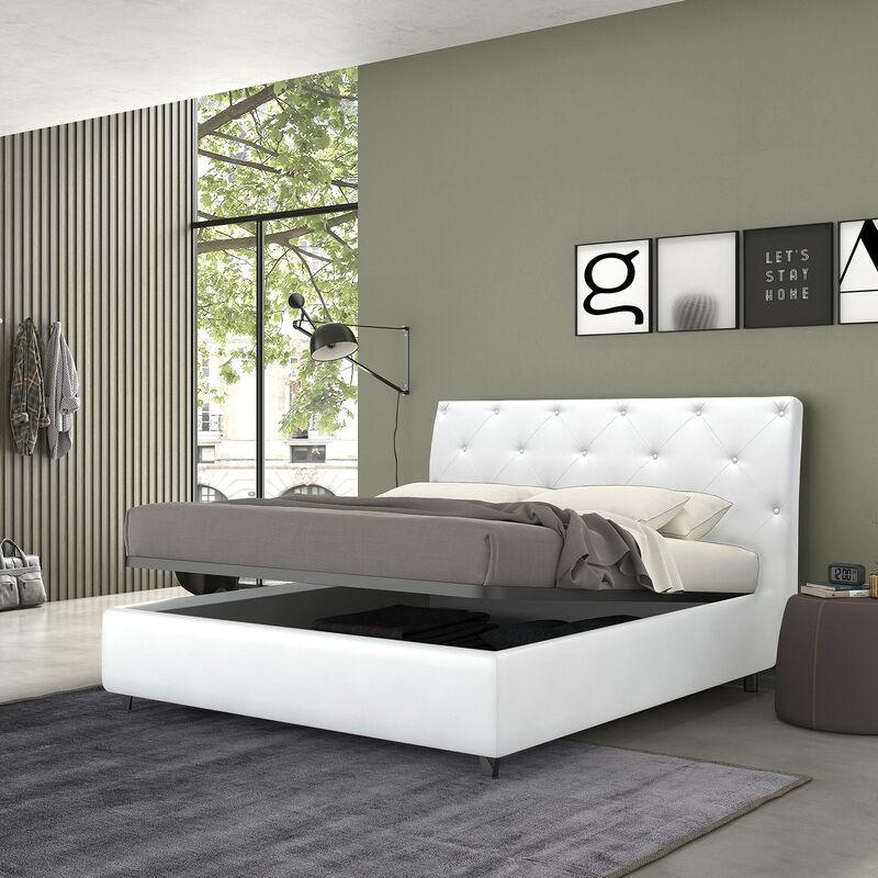 Bett mit Bettkasten für Doppelbett, Mozart Weiß, Öko-Leder - TALAMO ITALIA