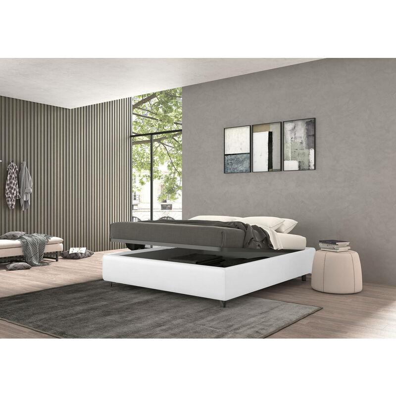 Bett mit Bettkasten, cm 120 x 190, Vivaldi Weiß, Öko-Leder - TALAMO ITALIA