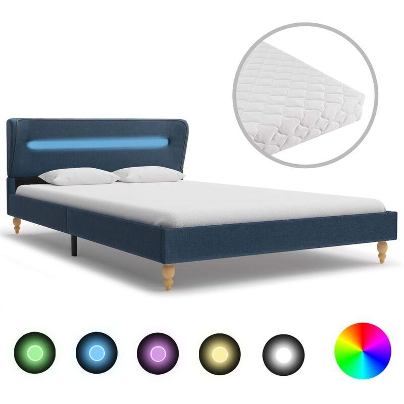Bett Stoff mit LED Matratze Blau 120x200cm - VIDAXL