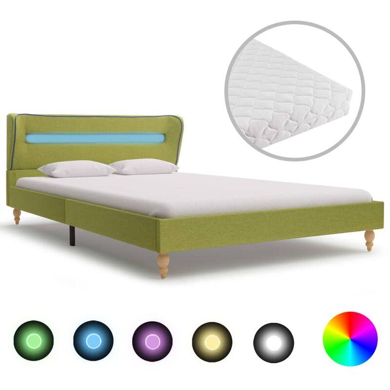 Bett Stoff mit LED Matratze Grün 120x200cm - VIDAXL