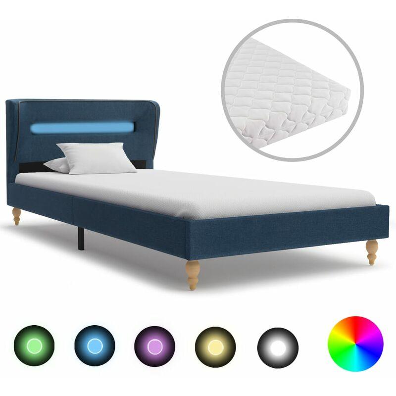 Bett Stoff mit LED Matratze Blau 90x200cm - VIDAXL