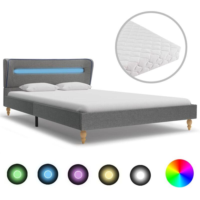 Bett mit LED Matratze Stoff Hellgrau 140×200cm - VIDAXL