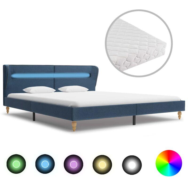 Bett mit LED Matratze Stoff Blau 160×200cm - VIDAXL