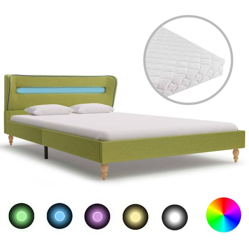 Bett mit LED Matratze Stoff Grün 140×200cm - VIDAXL